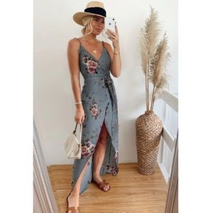 Gray Floral Wrap Maxi With Slit Spring Dress
